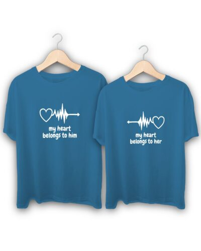 My Heart Belongs to Him and Her Couple T-Shirts