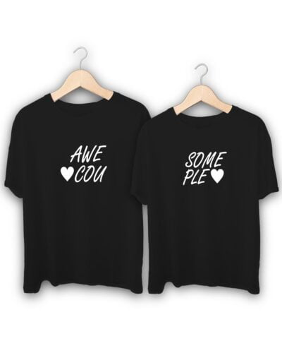Awesome Couple Text Couple T-Shirts