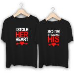 Stole His and Her Heart Couple T-Shirts