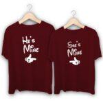 He is Mine She is Mine Couple T-Shirts