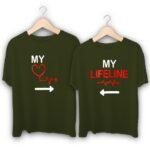 My Heartbeat My Lifeline Couple T-Shirts