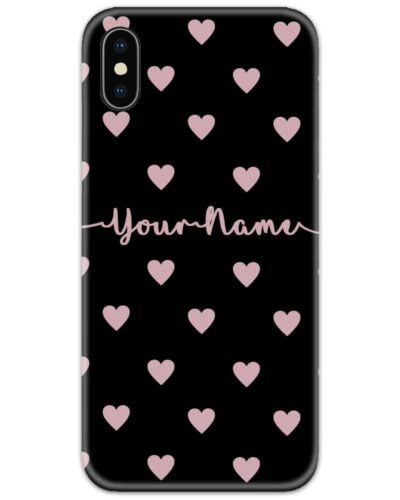 Heart Pattern Black Slim Case Cover with Your Name