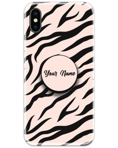Pink Zebra Pattern Slim Case Cover with Your Name Pop Grip