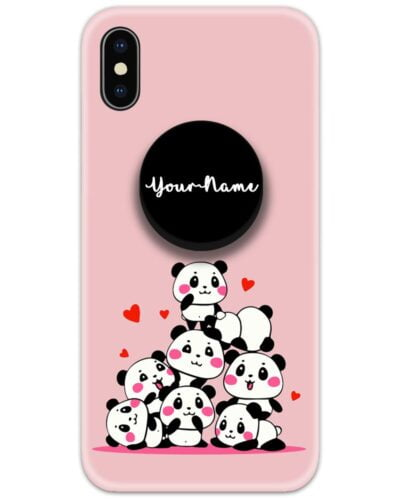 Cute Panda Slim Case Cover with Your Name Pop Grip