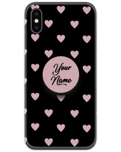 Heart Pattern Black Slim Case Cover with Your Name Pop Grip