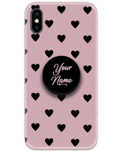 Heart Pattern Pink Slim Case Cover with Your Name Pop Grip