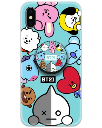 The Cute BT21 Slim Case Cover with Pop Grip