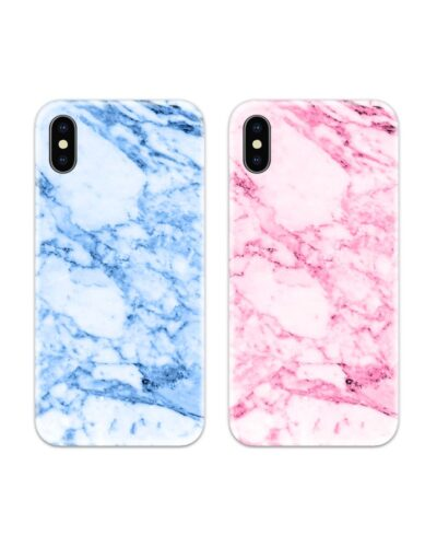 Blue Marble and Pink Marble Couple Case Back Covers