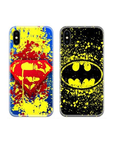 Superman Batman Splatter Couple Case Back Covers