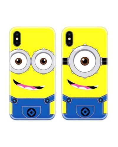 Minion Face Couple Case Back Covers