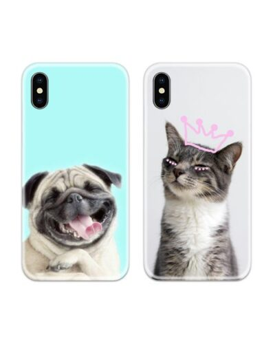 Dog and Cat Couple Case Back Covers