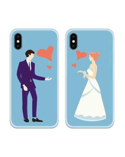 Bride and Groom Couple Case Back Covers