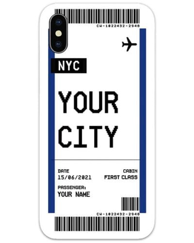 Custom Boarding Pass Slim Case Mobile Cover with City and Name
