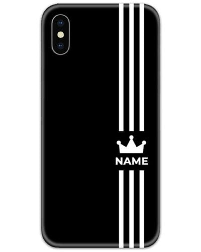Black with White Name Slim Case Cover with Your Name