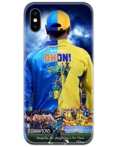 Dhoni Half Blue Yellow Jersey Slim Case Back Cover