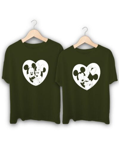Mickey in Heart Couple T-Shirts