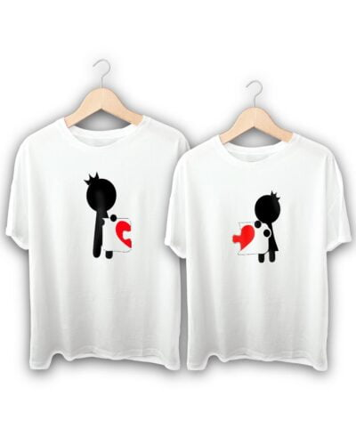 Heart Puzzle Couple T-Shirts