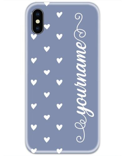 Purple White Heart Slim Case Cover with Your Name