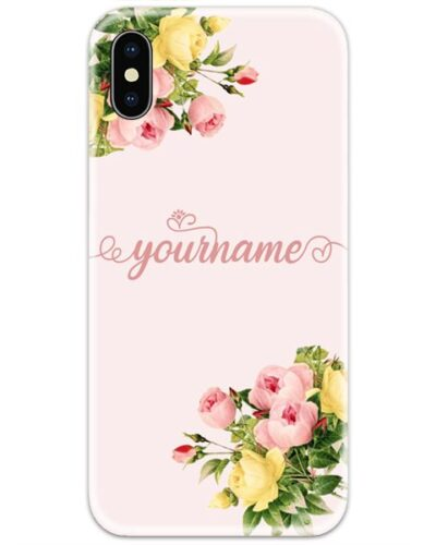 Flower Corner Pink Slim Case Cover with Your Name