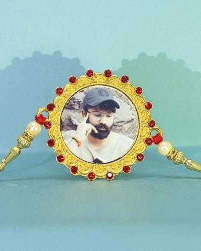 Custom Red Diamond Round Golden Circle Rakhi