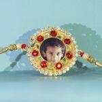 Custom Red Golden Flower White Diamond Rakhi