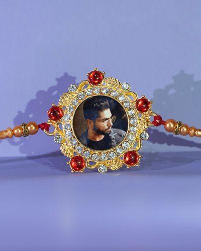 Custom Red and Diamonds Beautiful Rakhi