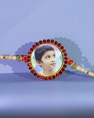 Custom All Red Stones Round Rakhi