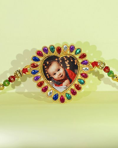 Custom Colorful Mix Heart Shape Rakhi
