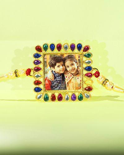 Custom Mix Colorful Stones Square Rakhi