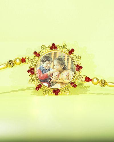 Custom Red Stones Fancy Design Rakhi