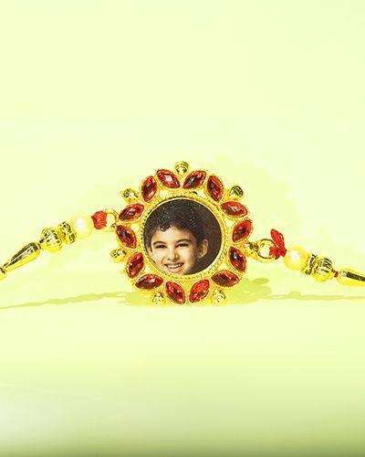 Custom Red Stones Leaves Style Rakhi