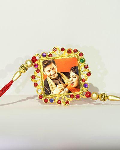 Custom Red Square Golden Rakhi