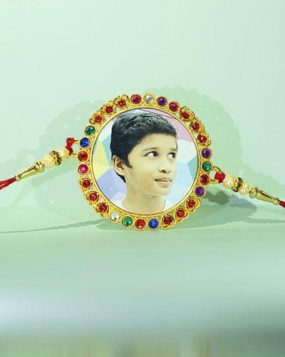 Custom Red Stones Round Circle Rakhi