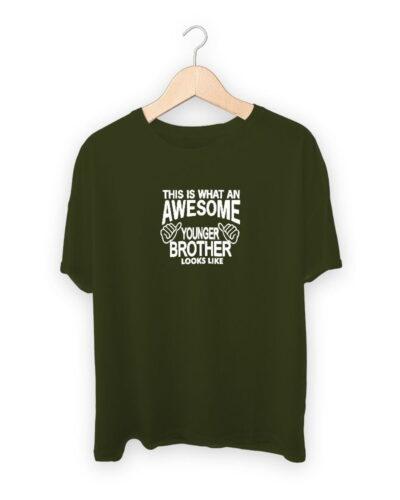 Awesome Younger Brother Men Raksha Bandhan Design T-shirt
