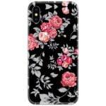 Pink Flowers Black Slim Case Back Cover