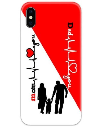 Mom Dad Heartbeat Red Slim Case Back Cover