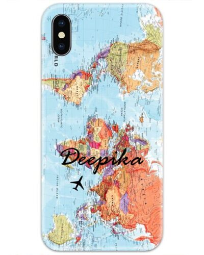 World Map Slim Case Cover with Your Name