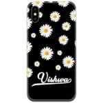 White Flowers in Black Slim Case Cover with Your Name