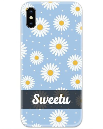 White Flowers in Blue Slim Case Cover with Your Name