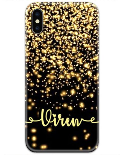 Black Glitter Slim Case Cover with Your Name