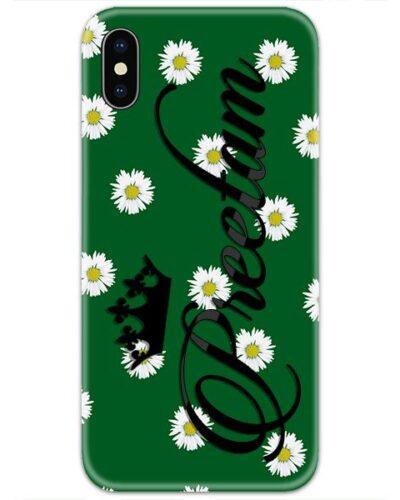 Dark Green Flower Custom 4D Name Case