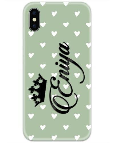 Light Green Heart Custom 4D Name Case