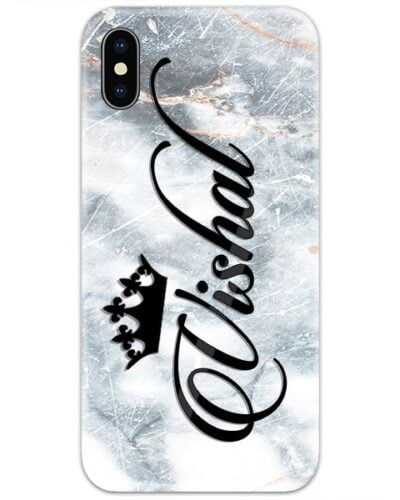 Grey Scratched Marble Custom 4D Name Case