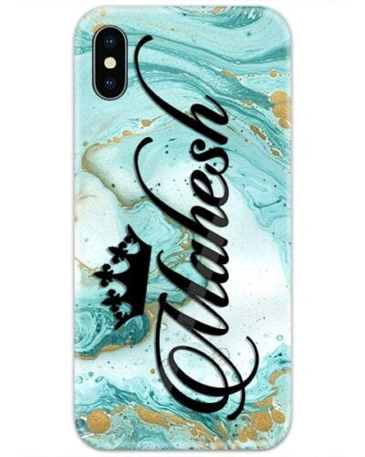 Turquoise Golden Marble Custom 4D Name Case