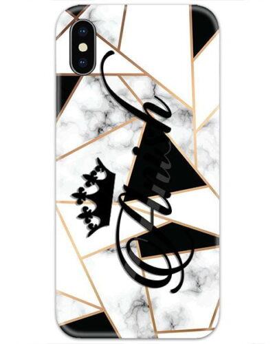 Black Shapes White Marble Custom 4D Name Case
