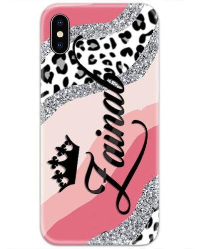 Leopard Glitter Pink Custom 4D Name Case