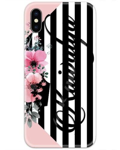 Black Lines Left Flowers Custom 4D Name Case