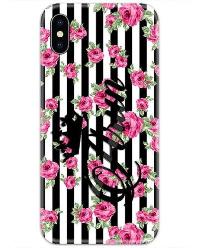 Black Lines Pink Roses Custom 4D Name Case