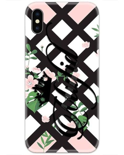 Black Diagonal Flowers Custom 4D Name Case