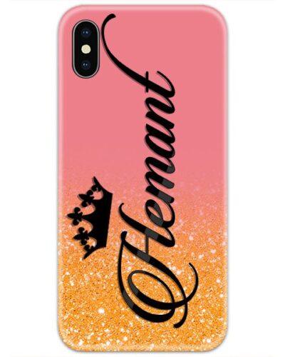 Orange Golden Glitter Custom 4D Name Case